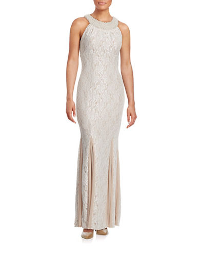 Cachet Beaded Halter Fit-and-Flare Gown-BEIGE-8