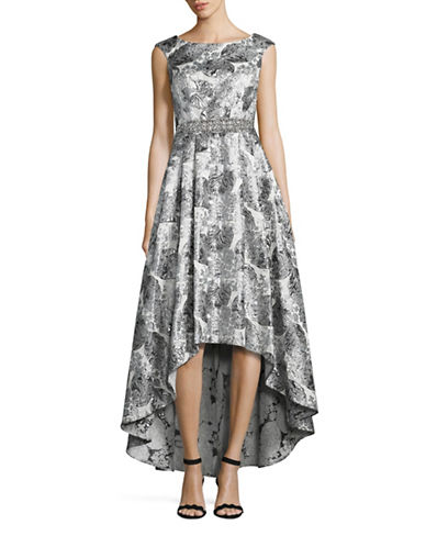 Cachet Botanical Brocade Hi-Lo Gown-GREY-10