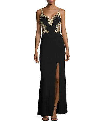 Cachet Embroidered Cutout Sweetheart Sheath Gown-BLACK-4