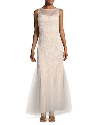 Cachet Soutache Tulle Godet Fit-and-Flare Gown-WHITE-12
