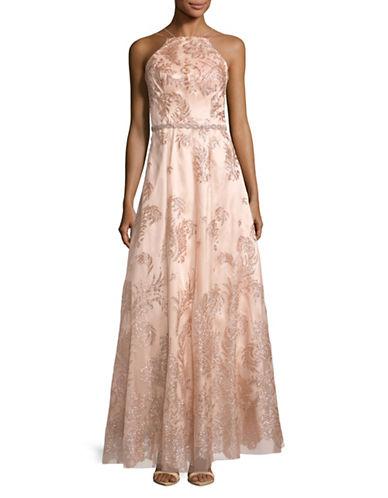 Cachet Halter Neck Glitter Gown-ROSE-6