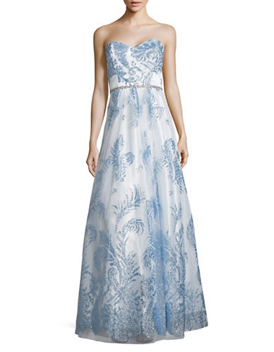 Cachet Embellished Strapless Gown-BLUE-0