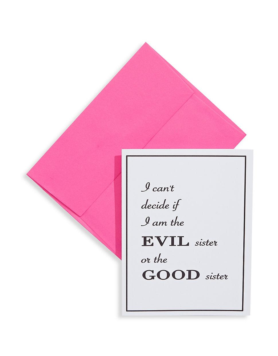 Evil Sister Good Sister Greeting Card | Hudson\'s Bay