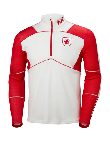 Helly Hansen Lifa Half Zip Baselayer Top-WHITE/RED-Small