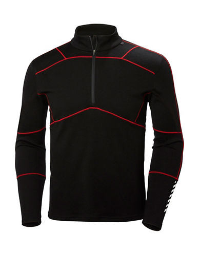 Helly Hansen Lifa Half Zip Baselayer Top-BLACK/RED-Small