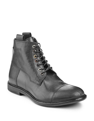Boss Orange Cap Toe Leather Boots-BLACK-12