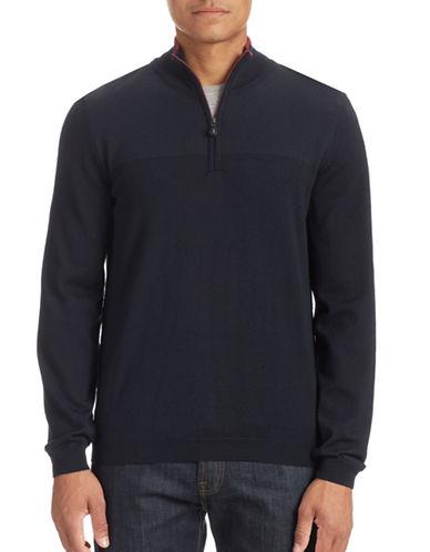 Boss Green Mesh Shoulder Fine Wool Sweater-NAVY-Medium