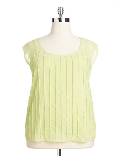 Plus Size Elderberry Pintuck Blouse bright green 3X