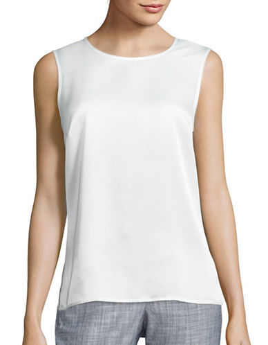 Kasper Suits Sleeveless Top-WHITE-Large