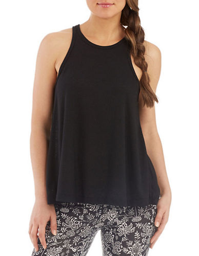 Free People Ribbed Drape Tank-BLACK-Small
