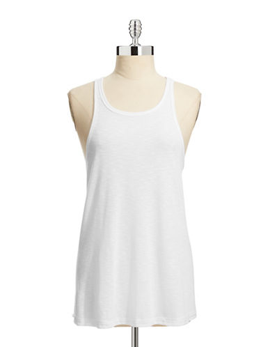 Free People Ribbed Drape Tank-WHITE-Small