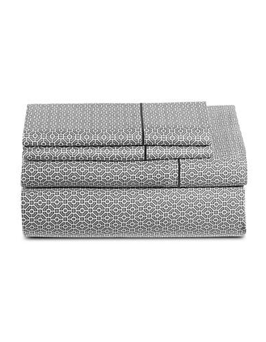Hotel Collection 525 Thread Count Tile Print Four-Piece Egyptian Cotton Sheet Set-DARK GREY-Queen