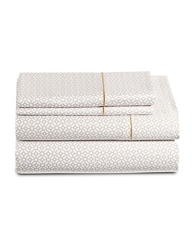 Hotel Collection 525 Thread Count Tile Print Four-Piece Egyptian Cotton Sheet Set-GOLD-King