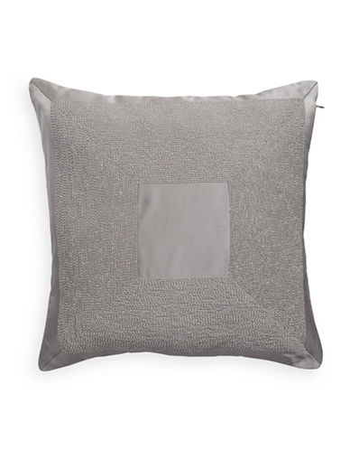 Hotel Collection Keystone 18-Inch Square Beaded Cushion-GREY-One Size