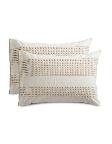 Hotel Collection Two-Pack Eyelet Pillow Shams-BEIGE-Standard