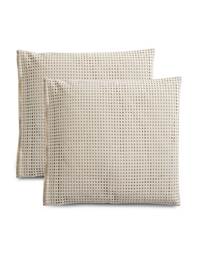 Hotel Collection Two-Pack Eyelet Pillow Shams-BEIGE-European