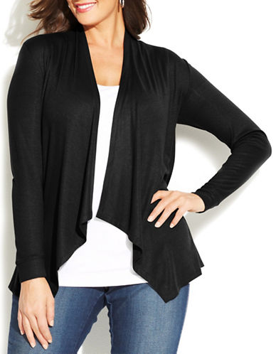 I.N.C International Concepts Plus Draped Open-Front Cardigan-BLACK-1X