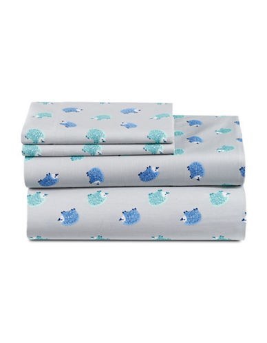 Martha Stewart Whim Hedgehog 200 Thread-Count Sheet Set-BLUE-Double