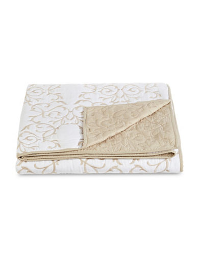 Martha Stewart Embroidered Double-Layer Quilt-NATURAL-Queen