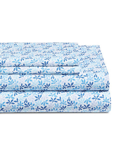 Martha Stewart Leaf Ditsy 300 Thread-Count Cotton Percale Sheet Set-BLUE-Twin