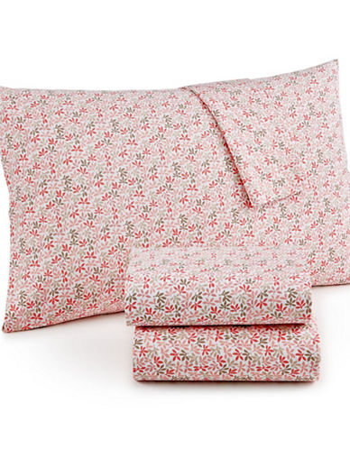 Martha Stewart Leaf Ditsy 300 Thread-Count Cotton Percale Sheet Set-PINK-Queen