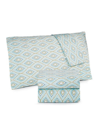Martha Stewart Divine 300 Thread Count Percale Full Sheet Set-AQUA-Double