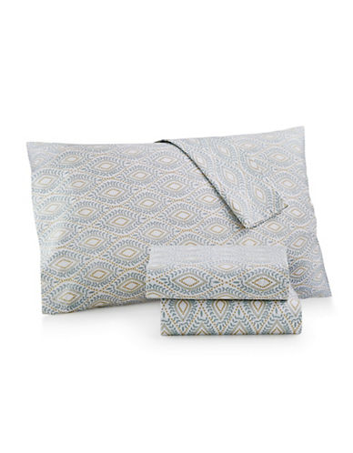 Martha Stewart Divine 300 Thread Count Percale Full Sheet Set-BLUE-King