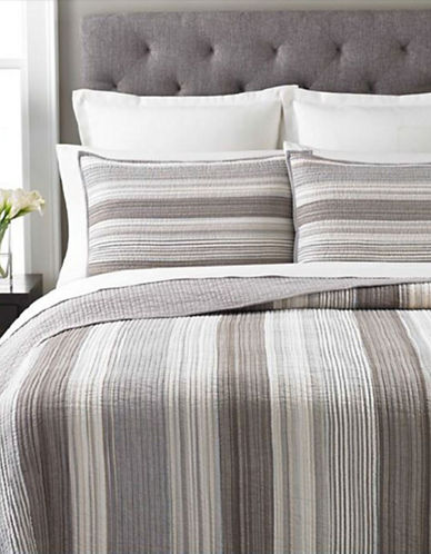 Martha Stewart Garrison Stripe Neutral Quilt-GREY-King