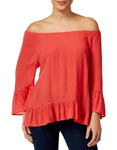 Style And Co. Off-The-Shoulder Flounce-Hem Top-PINK-Medium 88402436_PINK_Medium