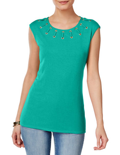 I.N.C International Concepts Petite Lace-Up Top-TEAL-Petite X-Small