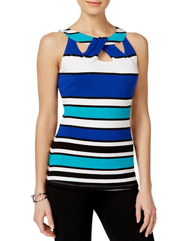 I.N.C International Concepts Petite Striped Cut-Out Top-BLUE-Petite Small