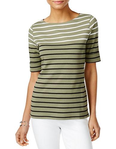 Karen Scott Striped Elbow-Sleeve Top-GREEN-Small 88391873_GREEN_Small