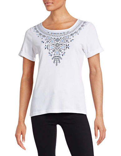 Karen Scott Embroidered Front Tee-WHITE-Medium 88391878_WHITE_Medium