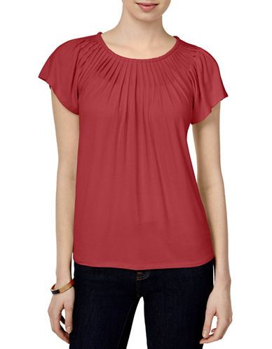 Style And Co. Pleat Neck Top-PINK-Small 88402369_PINK_Small