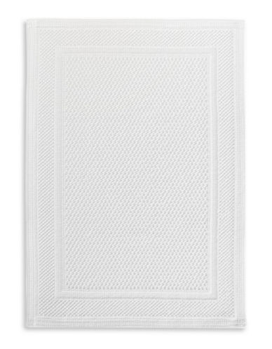 Hotel Collection Woven Cotton Bath Mat-WHITE-One Size