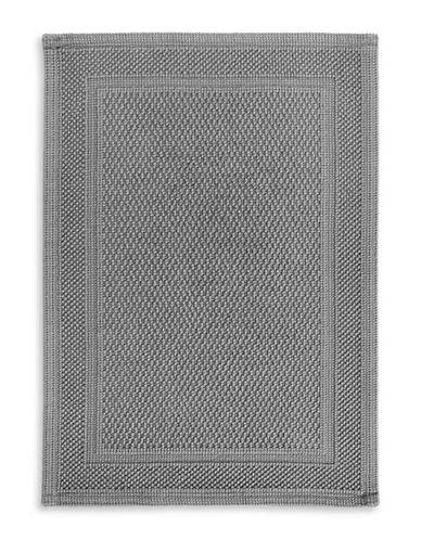 Hotel Collection Large Woven Cotton Bath Mat-GREY-One Size