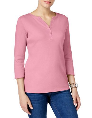 Karen Scott Three-Quarter-Sleeve Henley Top-PINK-Small 88462331_PINK_Small
