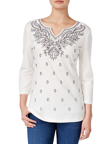 Karen Scott Embroidered Split Neck Top-WHITE-Medium plus size,  plus size fashion plus size appare