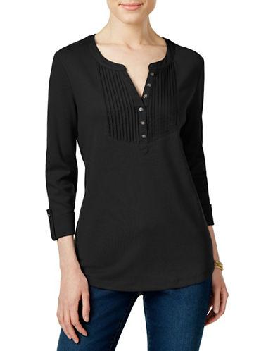 Karen Scott Pintucked Henley Top-BLACK-Large 88462357_BLACK_Large