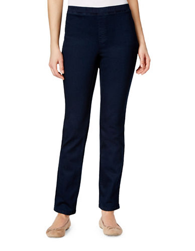 Karen Scott Straight-Leg Faux-Denim Pants-BLUE-Large 88525224_BLUE_Large