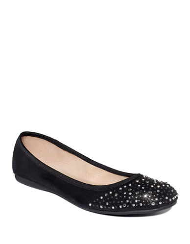 Style And Co. Angelyn Rhinestone Flats-BLACK SPARKLE-8.5