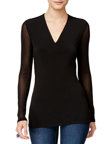 I.N.C International Concepts Illusion Sleeve Blouse-BLACK-X-Large