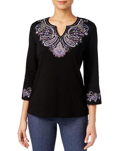 Karen Scott Three-Quarter Sleeve Embroidered Top-BLACK-Small 88536308_BLACK_Small