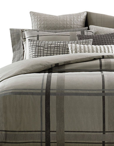 Hotel Collection Modern Plaid Duvet Cover-BEIGE-Queen