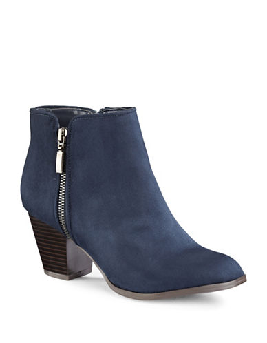 Style And Co. Jamil Raisin Zip Booties-NAVY-7.5