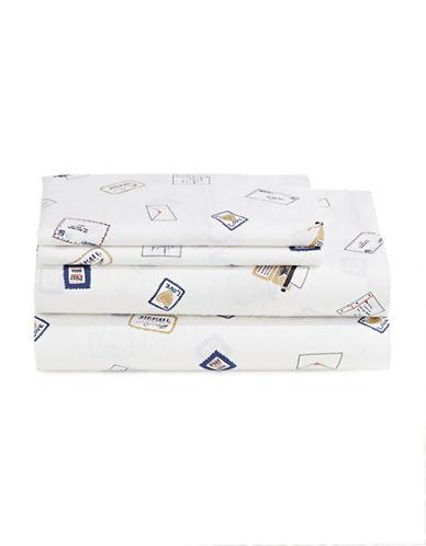 Martha Stewart Whim Pen Pal 200-Thread Count Four-Piece Sheet Set-DARK BLUE-Queen