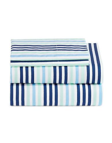 Martha Stewart Whim Brush Stripe 200 Thread-Count Four-Piece Sheet Set-MULTI-Queen