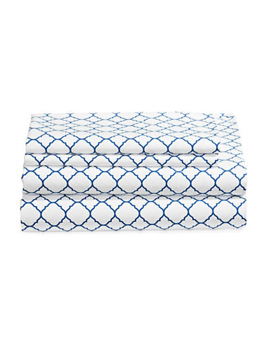Charter Club Home Damask 500 Thread-Count Four-Piece Print Sheet Set-DENIM-Double