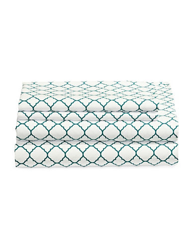 Charter Club Home Damask 500 Thread-Count Four-Piece Print Sheet Set-PEACOCK-King