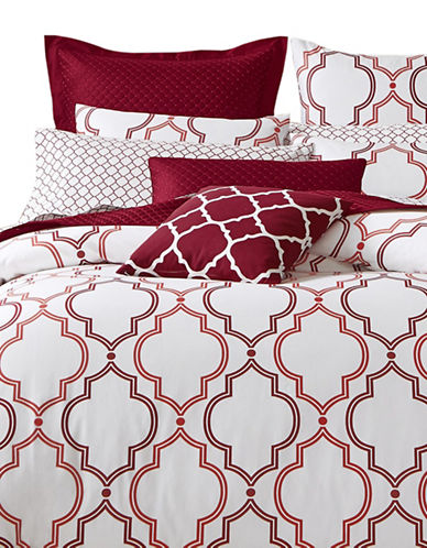 Charter Club Home Damask 300 Thread-Count Three-Piece Duvet Cover Set-GARNET-Twin